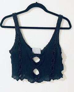 JOVEEBA - Bluey Black Loose Knit Beaded Designer Crop Top Festival Boho Fit 8-10