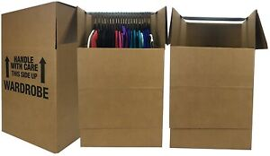 "uBoxes Wardrobe Moving Boxes - Shorty Space Savers - (3 PK) 20x20x34"" w/ Bars"
