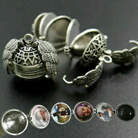 Expanding 5 Photo Locket Necklace Silver Ball Angel Wing Pendant Memorial Gift
