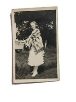 1901 Pre-flapper RPPC Real Photo Post Card Lady In Dress With Fur Shawl Unposted
