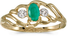 10k Yellow Gold Oval Emerald And Diamond Ring (CM-RM908-05)