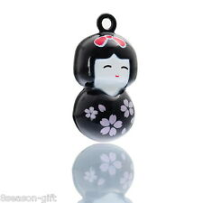 25PCs Copper Japan Doll Cartoon Xmas Jingle Bell Pendants Charms Black