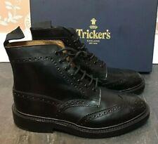 Men's - Tricker's - Stow - Black Box Calf Brogue Boots - UK 7.5