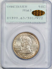 1925 Vancouver 50C Half Dollar PCGS MS 63 Rattler Gold CAC Sticker Beautiful