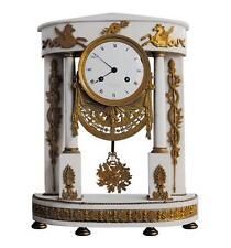 Pendule portique d'époque Directoire bronze doré et marbre blanc