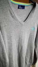 Men's Fred Perry 100% cotton V Neck Jumper Grey Size Small free 24hr UK Postage