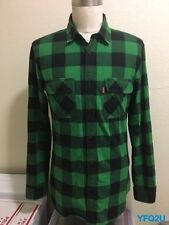 SUPREME LARGE GREEN/BLACK BUFFALO PLAID FLANNEL SHIRT w/BOX LOGO POCKET TAB