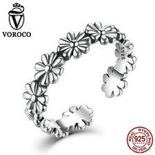 VOROCO Retro Daisies S925 Sterling Thai Silver Adjustable Ring Ladies Jewellry