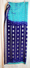 GOLDY TERICOT SAREE ROYAL BLUE AQUA GREEN PURE SILK WOVEN SLVR BROCADE BELLS+TOP