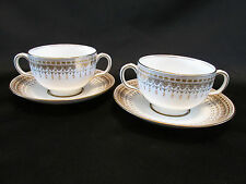Tiffany & Co Royal Doulton Piper Gold Boullion Cups & Saucers England Gold Trim