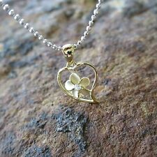 Small Yellow Gold Heart Plumeria Flower Hawaiian Silver Pendant Necklace SP91905