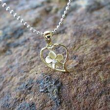 Small Yellow Gold Heart Plumeria Flower Hawaiian Silver Pendant Necklace SP91905