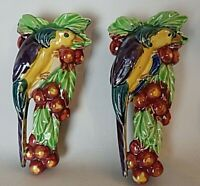 Pair of Wall Pockets Tropical Birds on Cherry Tree Made In Japan Planter Vase 9""