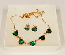 Andre Gerard Vintage Love Heart Necklace & Earring Set - Green Abelone  Style