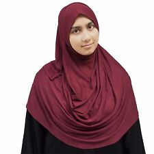 US Seller ~ Hayaa BURGUNDY Ready-to-Wear Instant Jersey Hijab 2 Face Loop