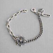 Vintage Rudder Cross Bracelets for Women Solid 925 Sterling Silver Fine Jewelry