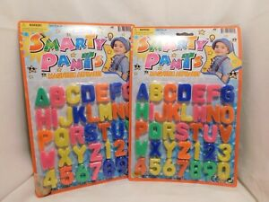 SET of 2 CARDS Magnetic Letters Numbers ABC 123  Plastic Alphabet Magnets 72 Pcs