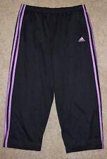 Adidas Medium Athletic Crop Pants Black Purple Jersey Capris Running Gym Fitness