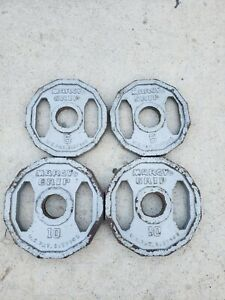 """Marcy Grip 10 & 5 lb Weight plates Olympic Size Weights used 10lb 5lb lbs 2"""""""