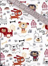 1/2 Yard Snuggle Cotton FLANNEL Earthtone & Dk Red Cartoon Dogs on White  BTHY