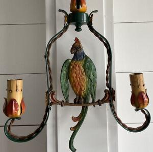 Vintage Cast Iron Parrot Pendant 2 Light Fixture. Rewired. Rare! Excellent