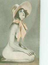 Desnudo Usando Sombrero Risque Pin-Up Modelo Arcade Carta Liso Dorso