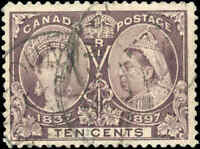 1897 Used Canada 10c F+ Scott #57 Diamond Jubilee Stamp (FAULTS)