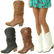 Ladies Cowboy Line Dancing Western Ruched Cuban Festival Tan Black White Boots