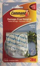 3M COMPANY - Clear Medium Hooks - 2 Pack 17091CLR