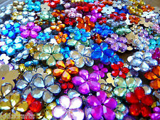 FLOWER Jewels Rhinestones 9-16mm Assorted Colours & Sizes 50G Bag