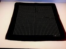 "POLO BY RALPH LAUREN Black Off White Dots Silk 16.5"" Pocket Square  Mini Scarf"