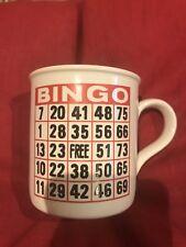 Bingo Game Card Coffee Mug Tea Cup VTG Red Black WhiteMauve Inside