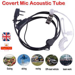 2 Pin Security Air Tube Headset Covert Earpiece Mic Talkie Radio Kenwood Baofeng