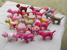 Lot of 19 Victorias Secret pink dogs plush stuffed metalic look velvety & more