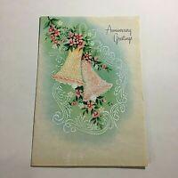 Vintage 1946 Greeting Card Anniversary Greetings Wedding Bells Great Art!