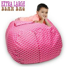 "Stuffed Animal Storage Bean Bag Chair 38"" Extra Large Pink clean up stuff n sit"
