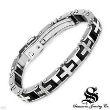 SHR & SIMMONS Gents Cross Bracelet With Genuine Diamonds Crafted Stainless Steel