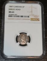 1887 Great Britain Silver Three Pence Graded by NGC as MS 63