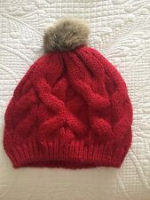 Red Knitted Ladies Beanie With Faux Fur Pom Pom One Size