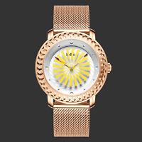 Ladies Quartz Wrist Analog Watch Unique Tone White Yellow Dial Rose Gold Women's