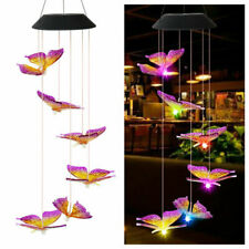 LED Solar Powered Butterfly Wind Chimes Light Home Garden Hanging Lamp Decor