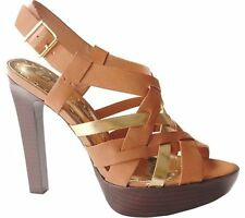 New BCBGirls Dorothy Tan and Gold Platform Sandal Heel Size 8M