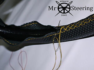 FOR INNOCENTI MINI 74+ PERFORATED LEATHER STEERING WHEEL COVER YELLOW DOUBLE STT