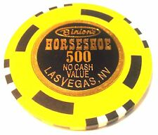 Binions Horseshoe Casino Obsolete $500 WSOP Yellow Black White NCV Poker Chip