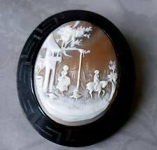 ANTIQUE VICTORIAN WHITBY JET AND CARVED SHELL CAMEO LARGE BROOCH PIN
