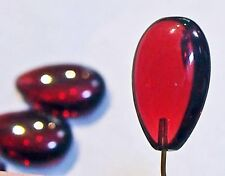 2 vintage Red Ruby Glass pendants earrings necklaces lavaliers czech top drilled