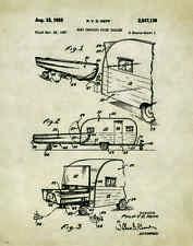 Travel Trailer Camper RV Patent Patent Poster Art Print Vintage Sales PAT162