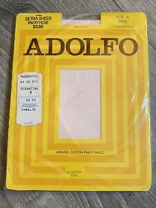 Vintage Discontinued Adolfo Ultra Sheer Pantyhose Size A Pink 12-0608 Aerated