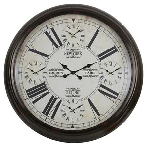 5-in-1 Large 100cm Wall Clock Home Decor Modern Roman Numerals World Time Style