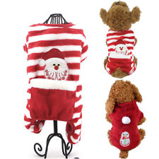 Sankt-Haustier-Hund-Pyjamas streiften rote Overalls weiche Weihnachtskleidung